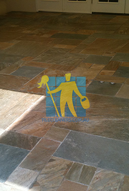 clean slate tiles unsealed after stripping and cleaning Brisbane cleaning