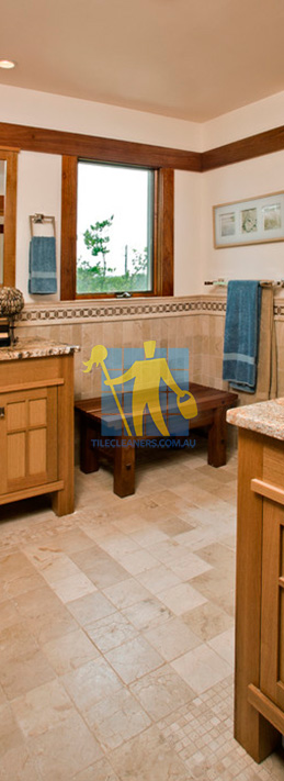 travertine tiles floor bathroom tumbled with mosaic corner wooden cabinets Nudgee