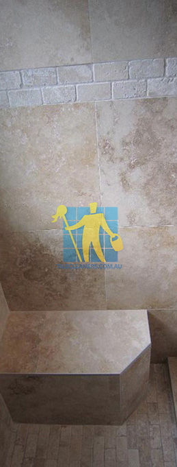 travertine tiles floor wall bathroom natural stone shower with seat Nudgee